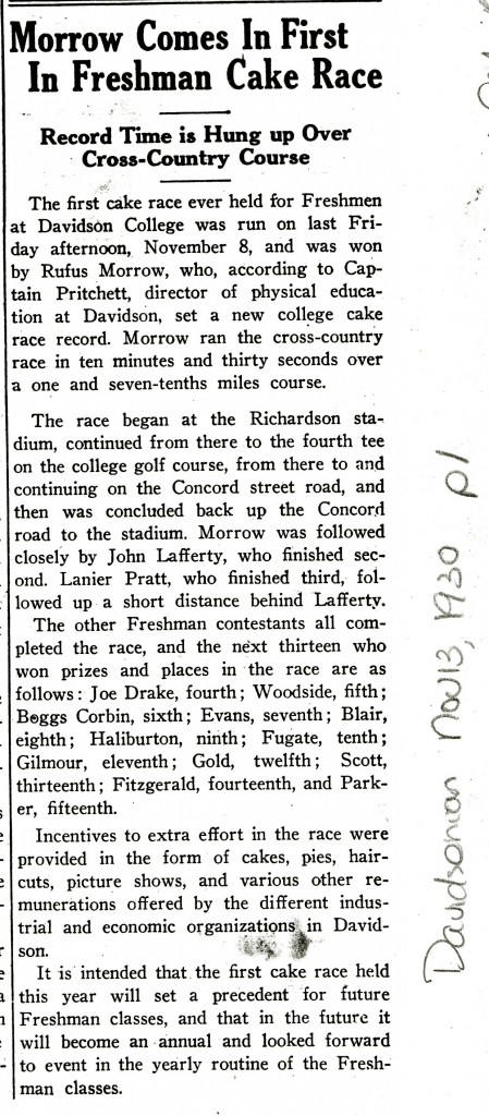 "The first cake race also saw the setting of ""a new college cake race record,"" naturally."