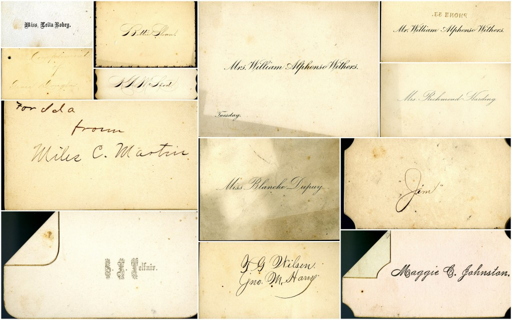A sampling of Miss Sloan's calling cards.
