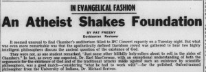 "Headline from 7 February 1964 Davidsonian, ""An Atheist Shakes Foundation"""