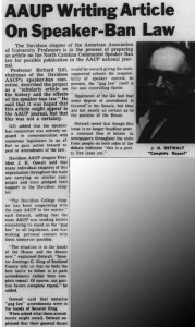 "4 April 1965 Davidsonian article with the heading, ""AAUP Writing Article On Speaker-Ban Law"""