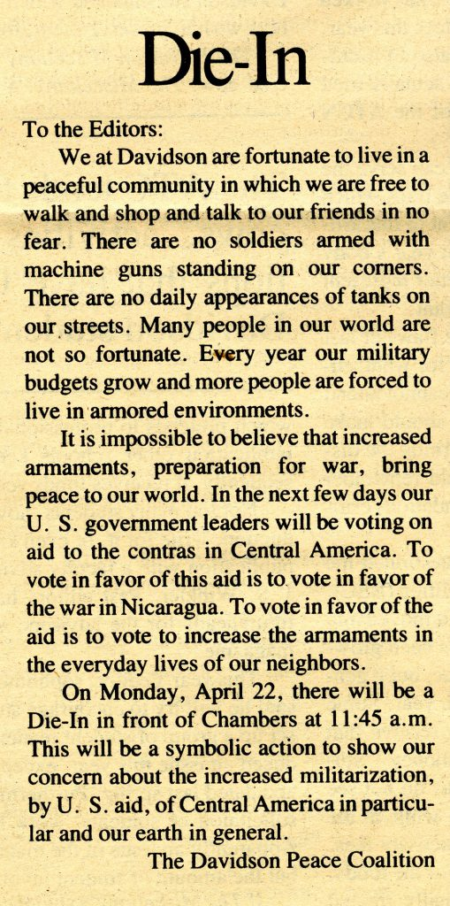 Letter to the Editor from the Davidson Peace Coalition, April 19, 1985.