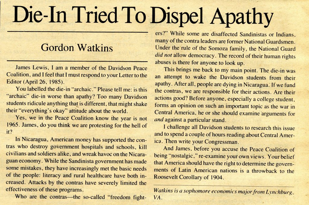 "Gordon Watkins' response to John Lewis, ""Die-In Tried to Dispel Apathy,"" ran on the opinions page of the May 3, 1985 issue."