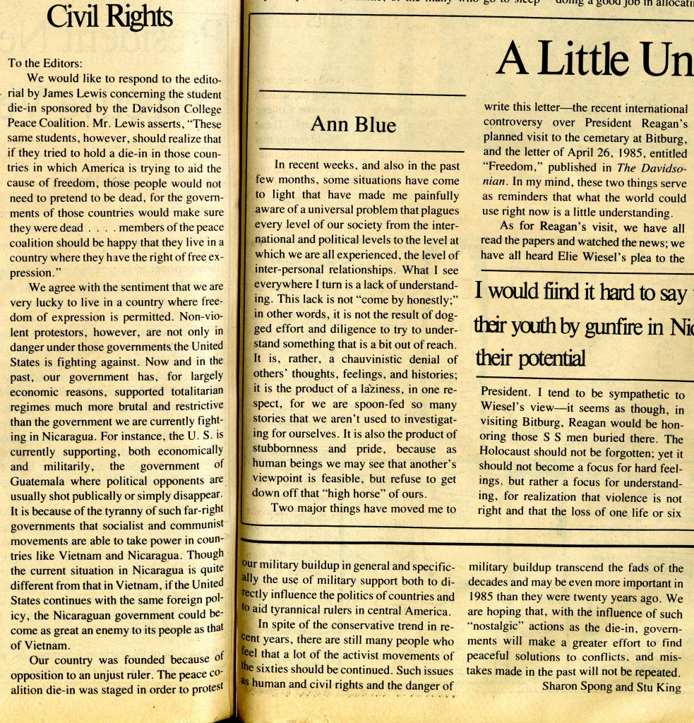 Sharon Spong and Stu King's Letter to the Editor in response to John Lewis ran in the May 3, 1985 issue of The Davidsonian.