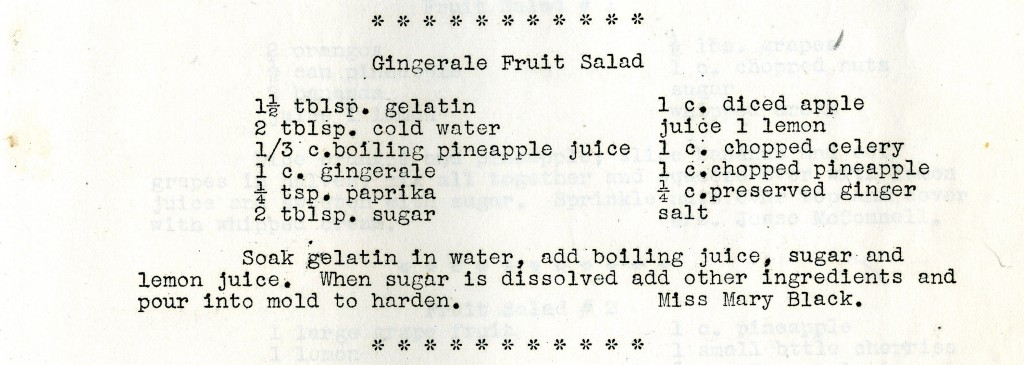 "Mary Black's 1920's ""Gingerale Fruit Salad"" recipe."