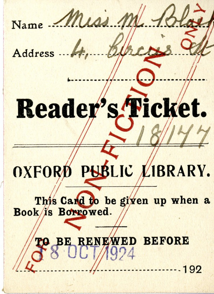 "Mary Black's reader's ticket for the Oxford Public Library, ""to be renewed before 18 Oct 1924."""