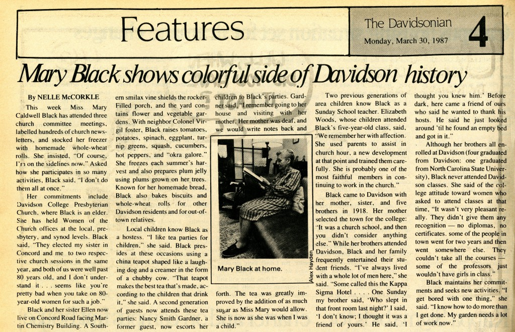 "This March 30, 1987 Davidsonian article on Mary Black provides insight into her life in Davidson, ""Mary Black shows colorful side of Davidson history"""
