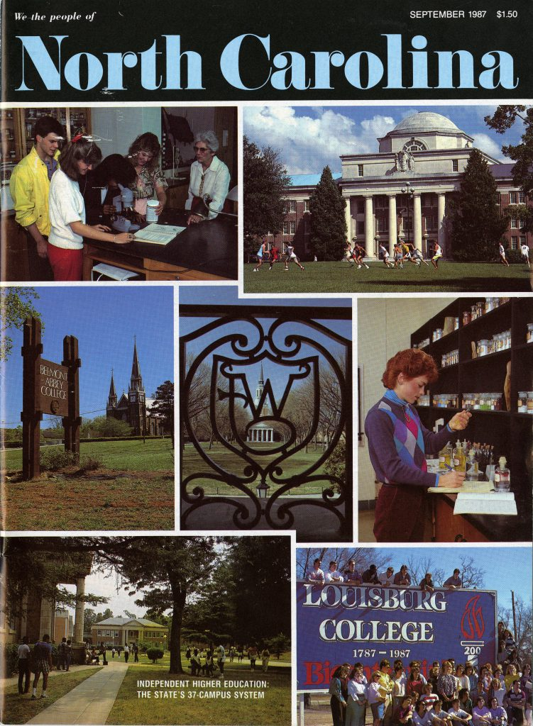 We the People of North Carolina's September 1987 cover showed buildings from several academic institutions across the state, including Davidson's Chambers Building.