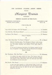 Front of Truman's concert program