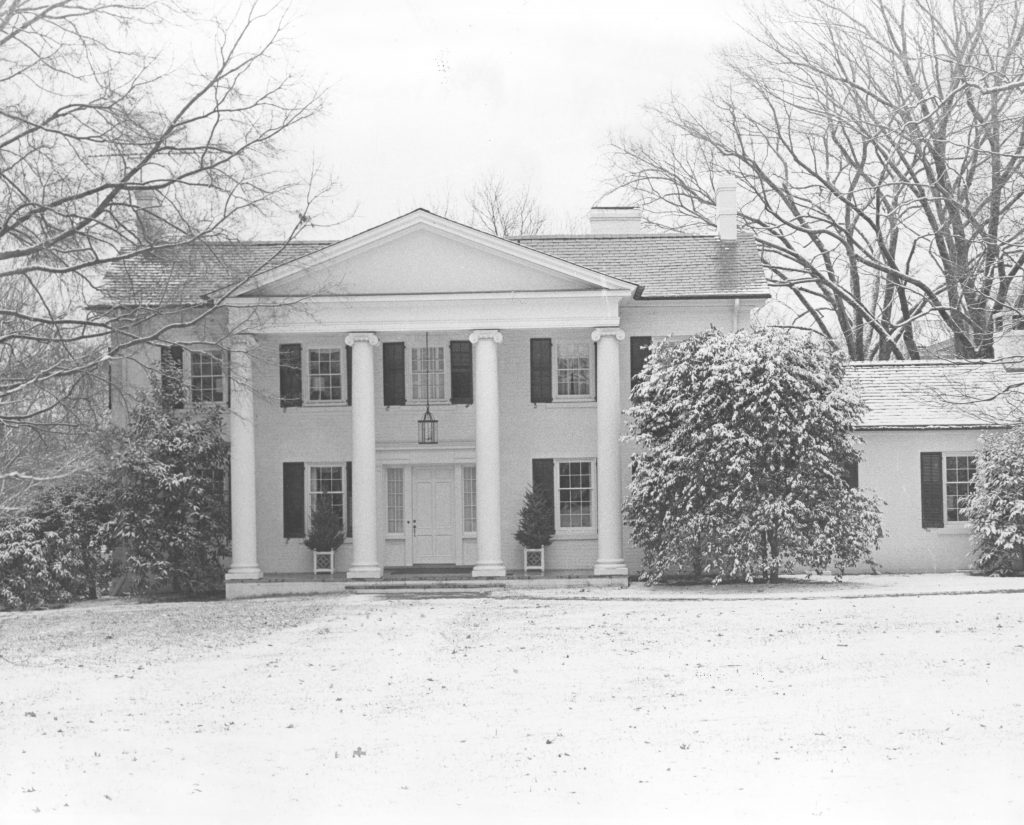 The Presidents House looks picturesque in the snow, date unknown.