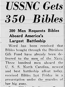 December 4, 1941 article announcing acceptance of Davidson funded Bibles by the US Navy.