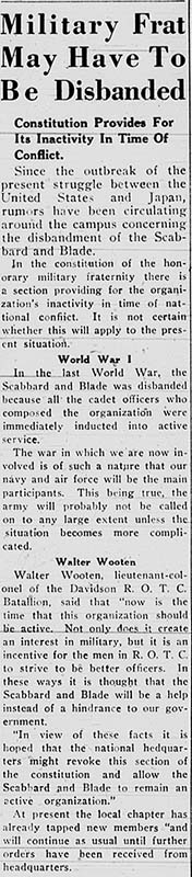 December 11, 1941 article on the possible effect of war on a student military group.