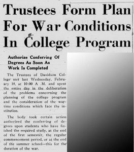 Headline from February 26, 1942 as the trustees approve war-related changes