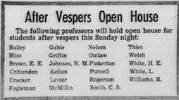 First Open House notice printed in Davidson on 18 February 1966