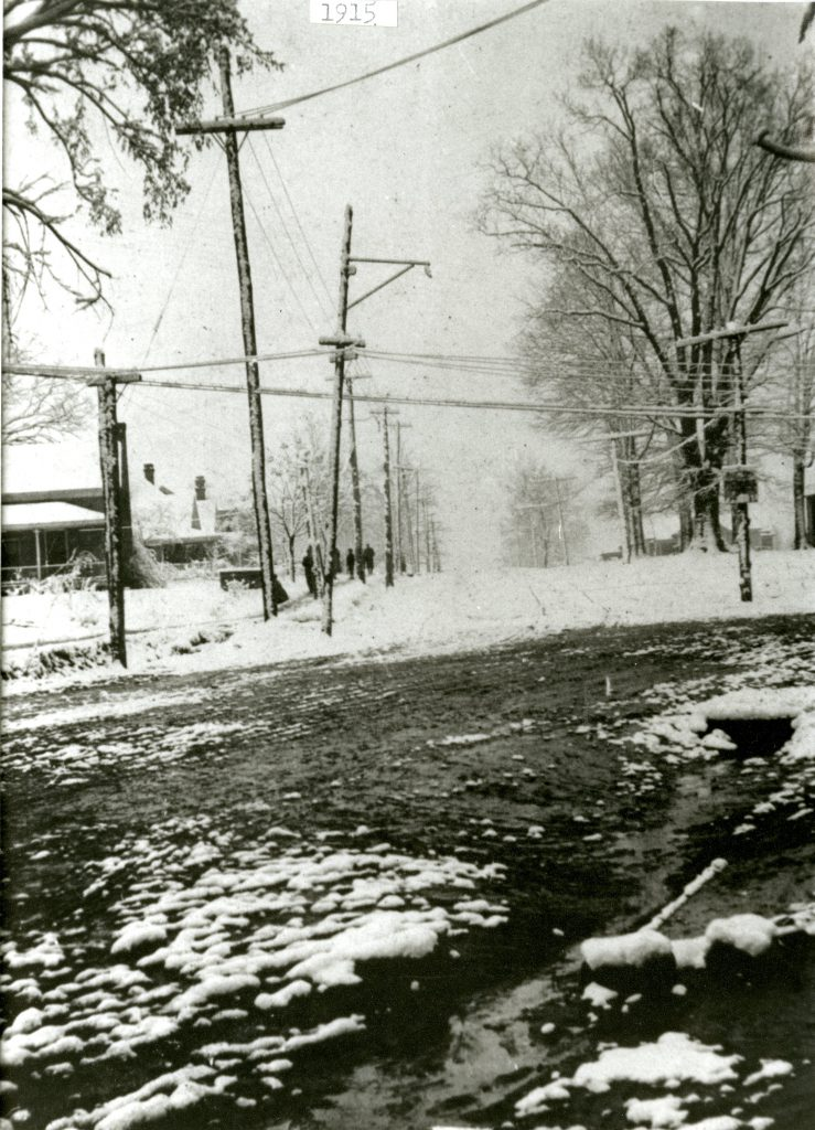 Snowy Main Street in Davidson, March 1915.