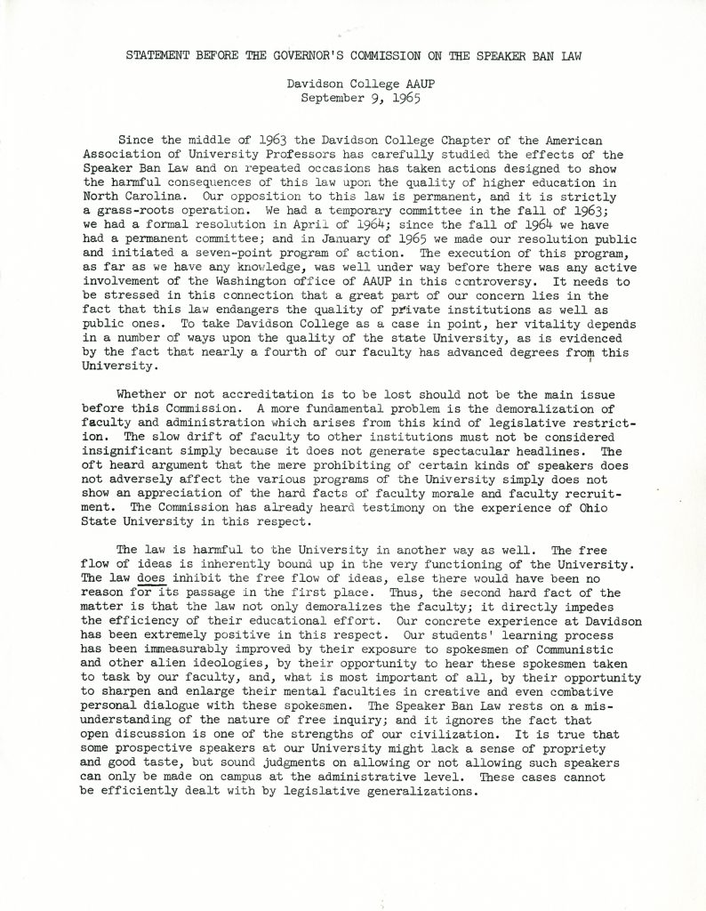 Statement before the Governor's Commission on the Speaker Ban Law, Davidson College AAUP, September 9, 1965.