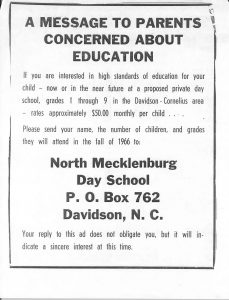 Notice published in the Mecklenburg Gazette in 1965