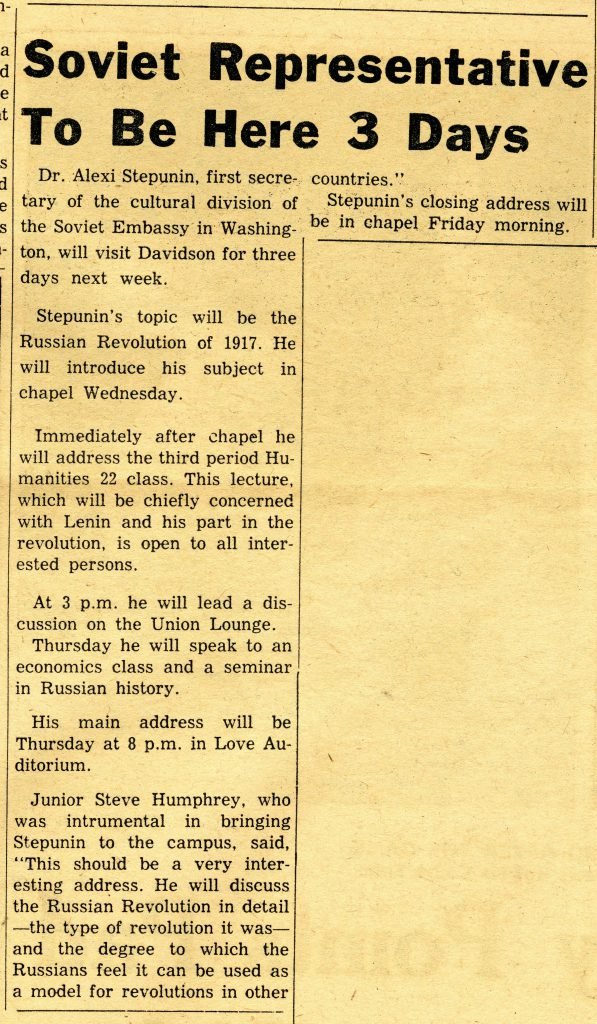 An article in the February 3, 1967 Davidsonian announces Stepunin's visit.