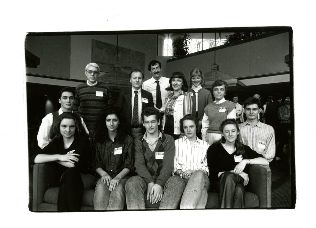 Rusk Scholars in 1986, pictured with their host families, including Bill and Ellen Giduz. Ellen is currently the manager of the Davidson and Cornelius branches of the Charlotte Mecklenburg Library, and previously worked at Davidson College as a librarian, visiting lecturer, and adjunct professor.