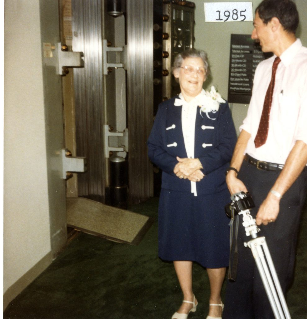 Bill with Eugenia Deaton, then Vice President of First Union National Bank in Davidson, on the occasion of her birthday and retirement in 1985.