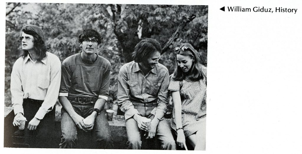 Bill's senior photo, with three other people in the 1974 Quips and Cranks