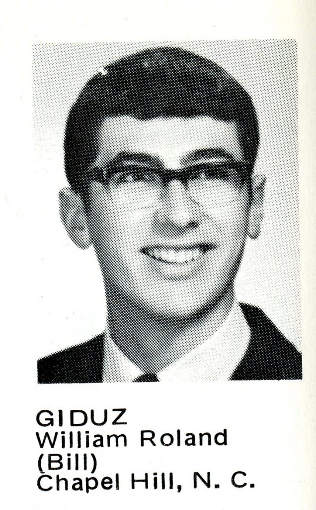 The first image of Bill Giduz comes from the 1970 Wildcat Handbook, the freshman handbook at Davidson.