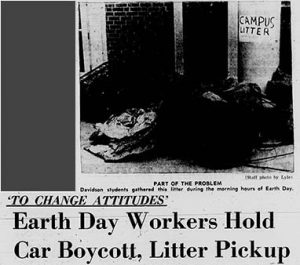 "Headline and photo from 24 April 1970 Davidsonian, ""Earth Day Workers Hold Car Boycott, Litter Pickup"""