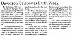 "27 April 1992 Davidsonian account of Earth Day, ""Davidson Celebrates Earth Week"""