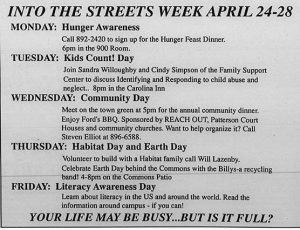 "In 1995, Earth Day becomes a part of community service via Into the Streets, This document shows the events occuring each day for, ""Into The Streets Week April 24-28"""