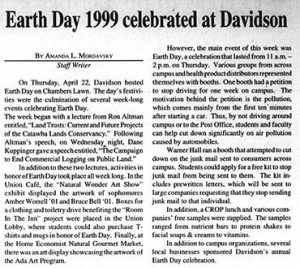 "Article on earth day with the heading, ""Earth Day 1999 celebrated at Davidson"""