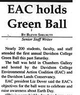 "Beginning of 27 April 2005 article on the Green Ball, ""EAC holds Green Ball"""