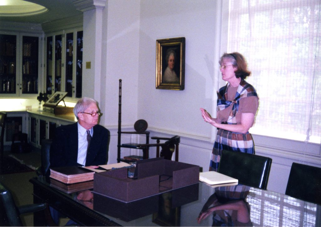 Jan chats with then Librarian of Congress, James H. Billington, in the Rare Book Room during his visit to campus in 2001. Billington is looking at the Arabic language Bible of Omar Ibn Sayyid, one of the highlights of our rare book collection.
