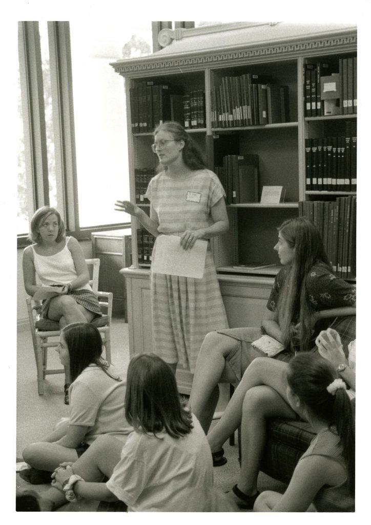 Jan leads a discussion on Davidson history in the Davidsoniana Room during Freshman Orientation in 1996. Jan's introduction to the past and present of Davidson College has been a part of orientation for over 20 years.
