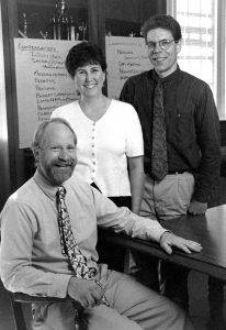 Past AAG Officers, William Brown seated, Meg Kimmel and Carl Sorrenson standing, ca. 1996-2001