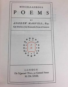 Title page reading: MISCELLANEOUS POEMS BY ANDREW MARVELL, Esq. Late Member of the Honourable House of Commons LONDON The Nonesuch Press, 30 Gerrard Street M. CM. XXIII.