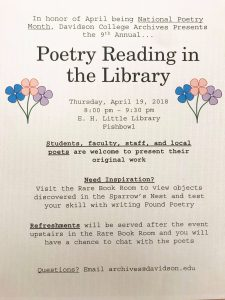 "Advertisement for ""Poetry Reading in the Library"""