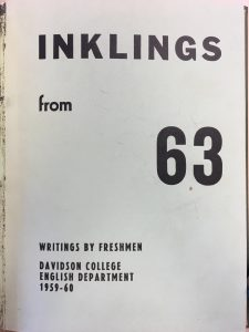 Cover of Inklings, 1963, Writings by Freshmen