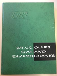 Cover of Quips and Cranks Cover 1963, green cover with the title written forward and backwards