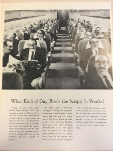 Scripts 'n Pranks black and white advertisement, showing the same individual on every seat of a plane