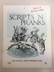 Cover of Scripts 'n Pranks showing Alice in Wonderland characters gazing at Alice in a swimming hole filled with alcohol