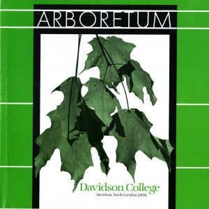 "Green brochure front with a cluster of leaves in the center, ""arboretum"" typed across the top, ""Davidson College"" written just below the leaves."