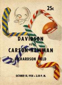A football player stick figure made out of various colored striped ties. Davidson vs. Carson-Newman. Richardson Field. October 18,1958