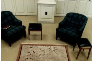 Chairs made of Davidson tartan in the Davidsoniana Room