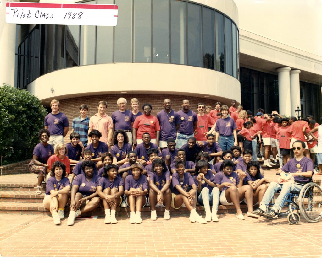 The 1988 pilot class for the Love of Learning program. Rev. Brenda Tapia, the newly hired assistant chaplain, stands in the middle of the photograph in the red t-shirt.