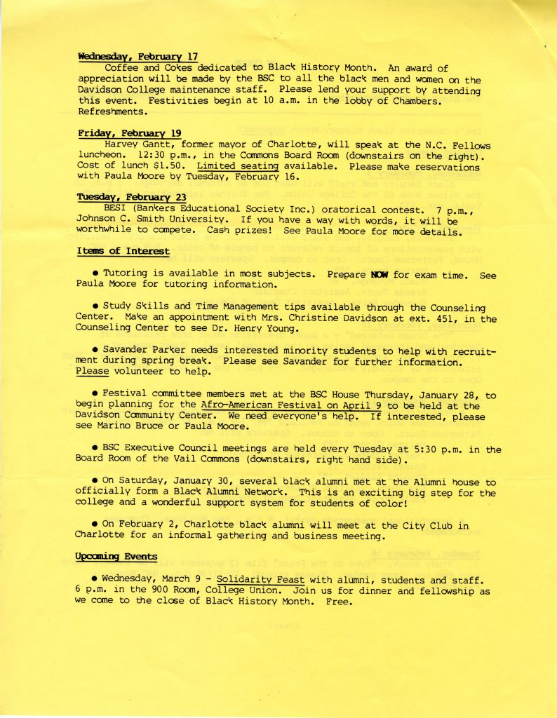 A scan of the second page of the February 1988 Black Student Coalition newsletter. Included is the date for the formation of the Davidson Black Alumni Network (DBAN) - January 30, 1988.