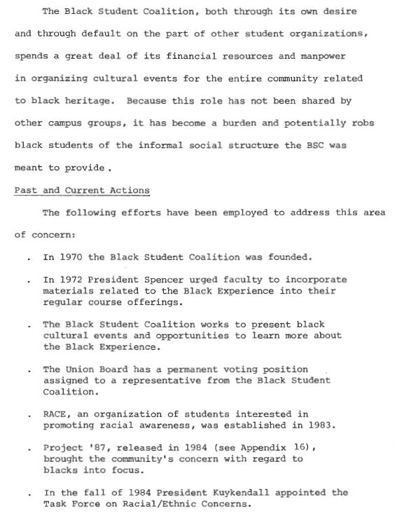 "Page 28 of the Task Force on Racial Concerns which lists the ""past and current actions"" of Davidson's Black Student Coalition between 1970 and 1984."