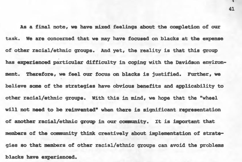 "A screenshot from page 41 of the Task Force's final report that states: ""…we hope that the ""wheel will not need to be reinvented"" when there is significant representation of another racial/ethnic group in our community. It is important that members of the community think creatively about implementation of strategies so that members of other racial/ethnic groups can avoid the problems blacks have experienced,"""