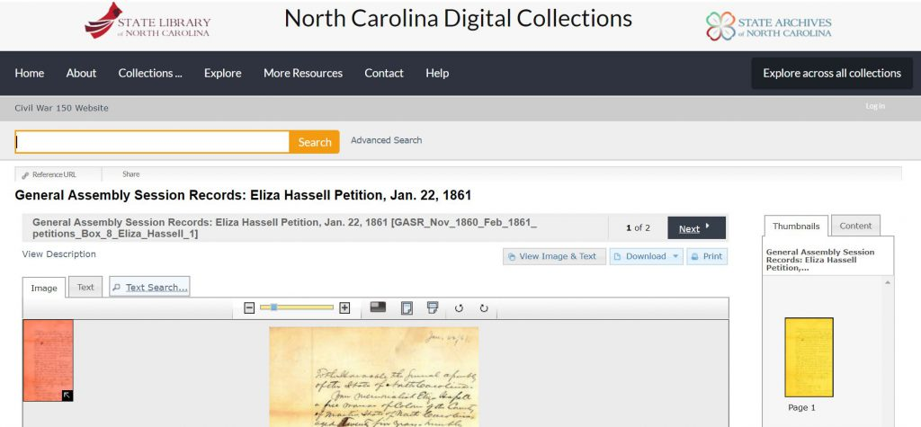 Screenshot of the North Carolina Digital Collections page showing the General Assembly Session Records: Eliza Hassell Petition, Jan. 22, 1861.