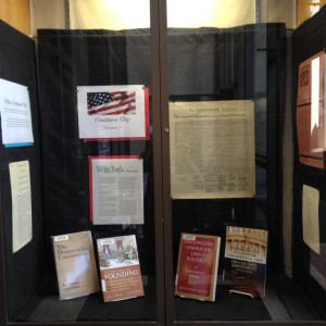 Constitution Day display in front entrance display case.