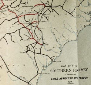 Map of the Southern Railway Showing Lines Affected by Flood of 1916. From: The floods of July 1916: How the Southern Railway Organization Met an Emergency.