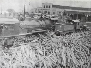 Debris left behind at a railroad station after flood waters receded.